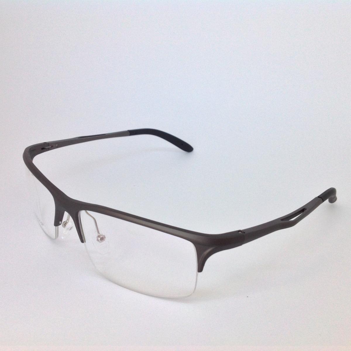 armação óculos grau masculino sport metal alumínio grafite. Carregando zoom. d3777aa2c1