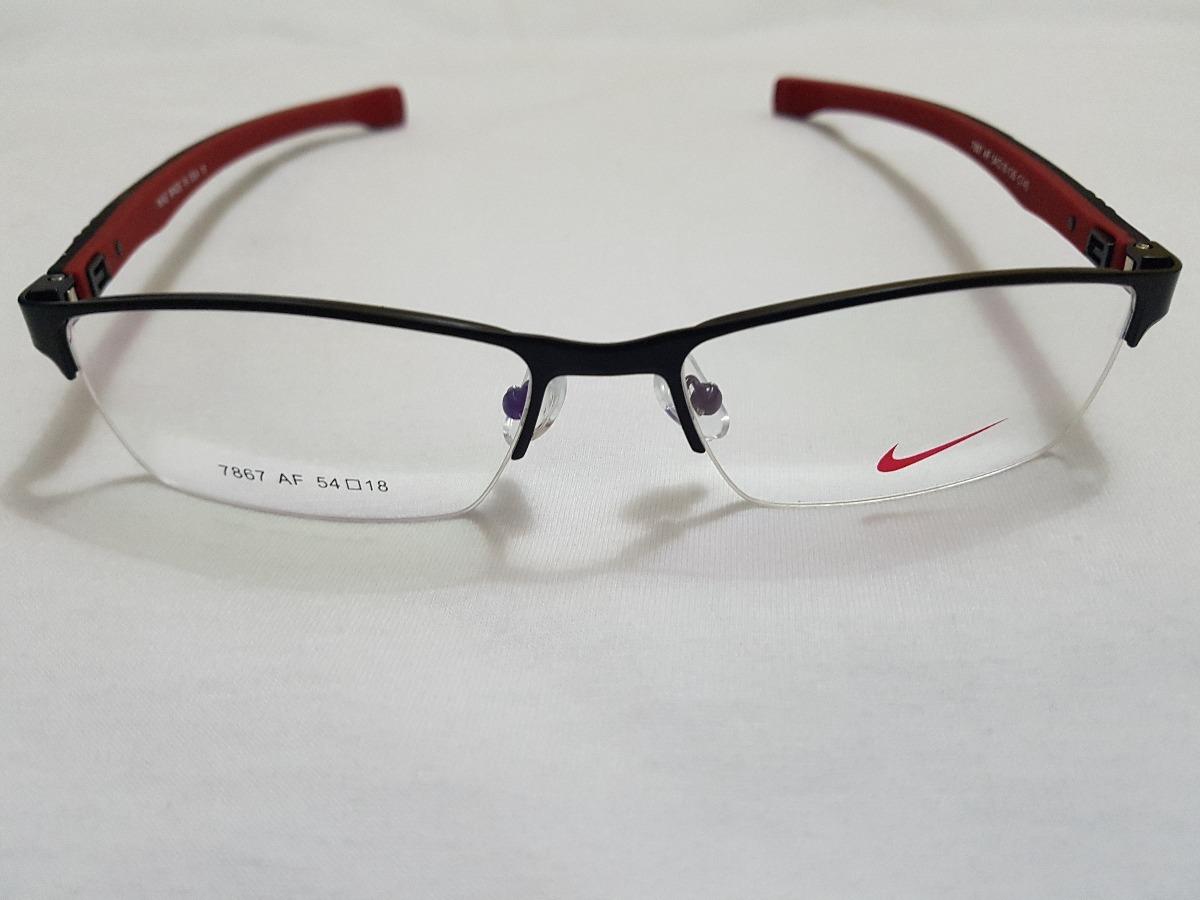 538fc82807df2 armação óculos grau nike 7867 novidade preto vermelho. Carregando zoom.