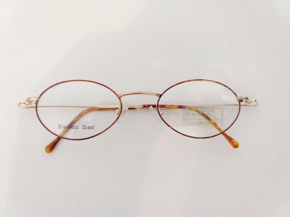 6fcc899b0 armação óculos grau oval pequeno dourada benetton leve. Carregando zoom.