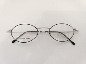 8c3b588f3 Armação Óculos Grau Prata E Preta Super Leve Oval Pequena
