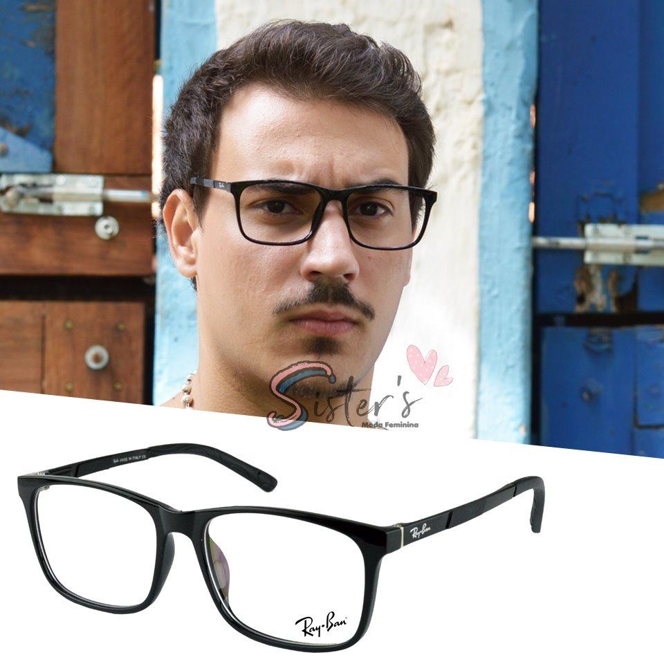 cfce56c823125 armação óculos grau quadrado masculino acetato rayban 8989. Carregando zoom.