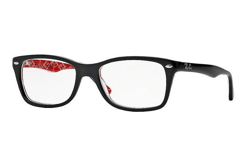 55030606e1f06 Armação Oculos Grau Ray Ban Rb5228 2479 55 Preto Vermelho - R  359 ...