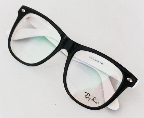c6f422e4e4402 Armação Oculos Grau Rb5170 Preto E Branco Acetato Ray Ban - R  97