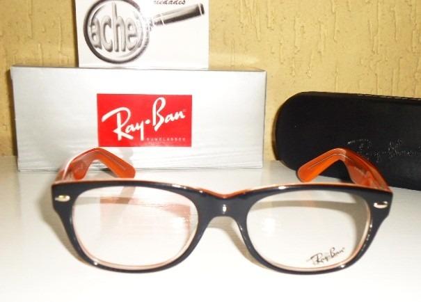 43fbe2cbcb689 Armação Oculos Grau Rb5184 Wayfarer Laranja E Preto Acetato - R  97 ...