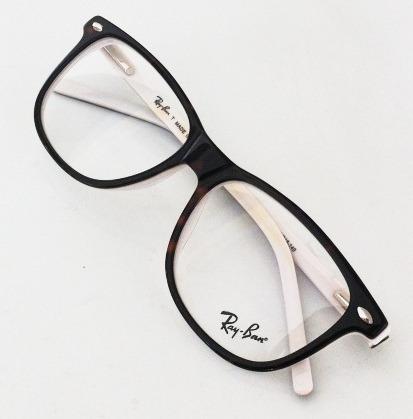 303f9684f5f6e Armação Oculos Grau Rb5228 Tartaruga E Branco Acetato Rayban - R  97 ...