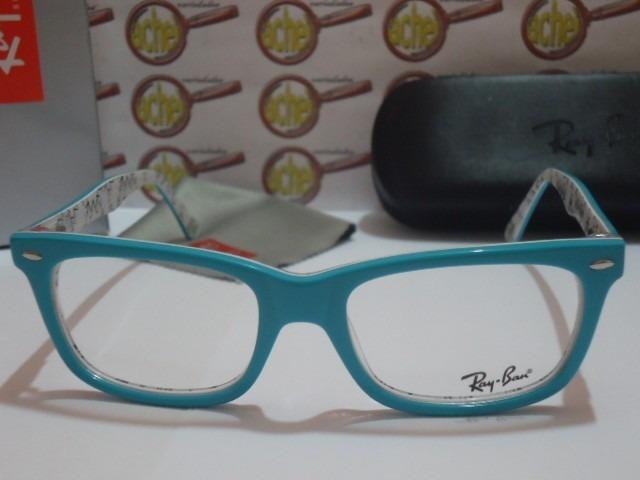 23d8d1a17977f Armação Oculos Grau Rb5228 Wayfarer Azul Bebê Branco Ray-ban - R  97 ...