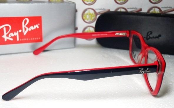 6632310b26938 Armação Oculos Grau Rb5228 Wayfarer Preto E Vermelho Ray Ban - R  97 ...