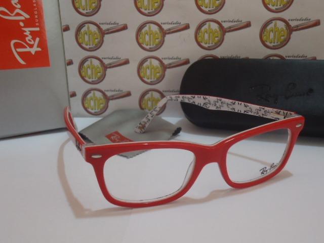40ee775c1b9bb Armação Oculos Grau Rb5228 Wayfarer Vermelho Branco Rayban - R  97 ...