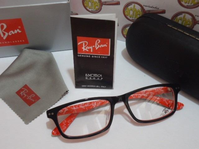 7f19cb6163999 Armação Oculos Grau Rb5277 Wayfarer Vermelho E Preto Rayban - R  97 ...
