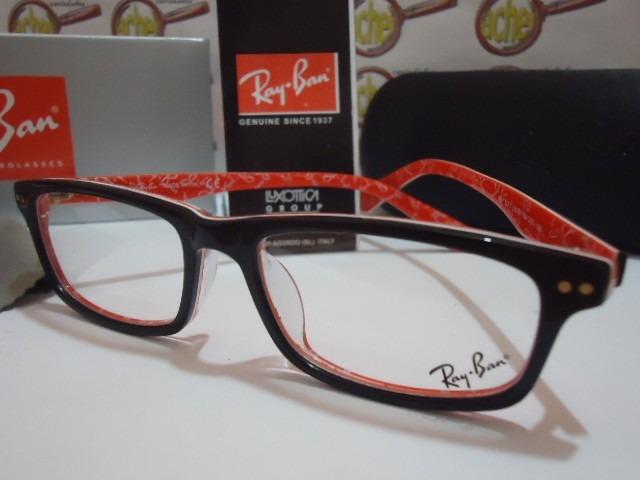 29e3f536e Armação Oculos Grau Rb5277 Wayfarer Vermelho E Preto Rayban - R$ 97 ...