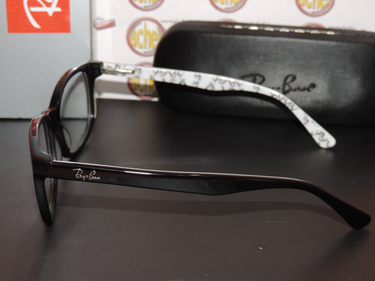 ecaf3d92d armação oculos grau rb5285 wayfarer preto branco logo rayban. Carregando  zoom.