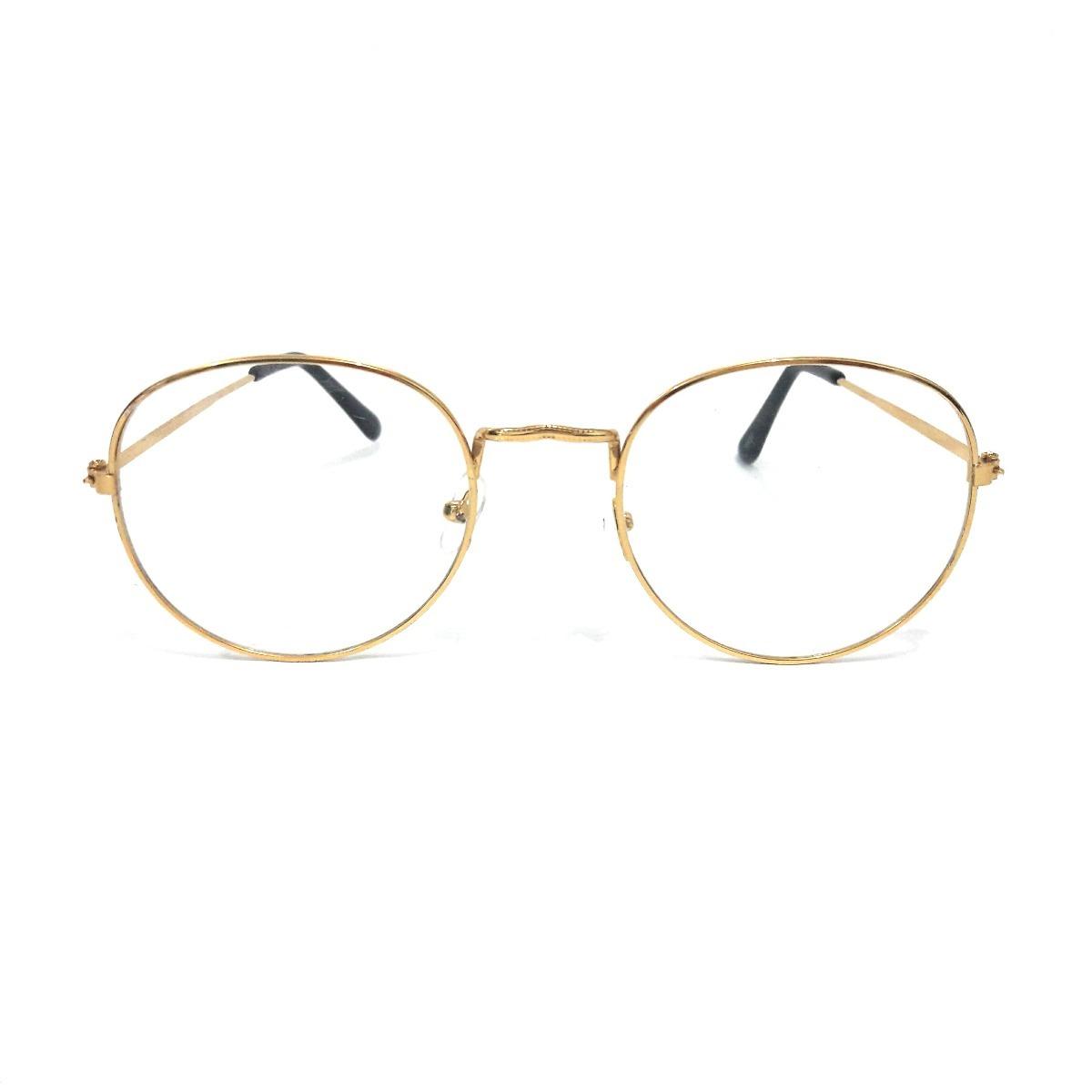 3a14039e0 Armação Óculos Grau Redondo Feminino Masculino Dourado 1805 - R$ 49 ...