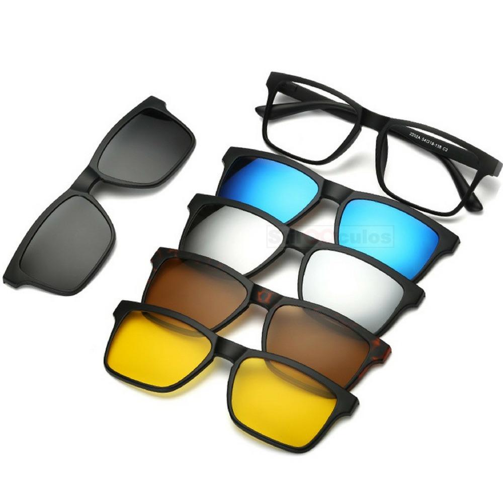 869e846e12a31 armação óculos grau sol e noite polarizado 6 em 1 clip on. Carregando zoom.