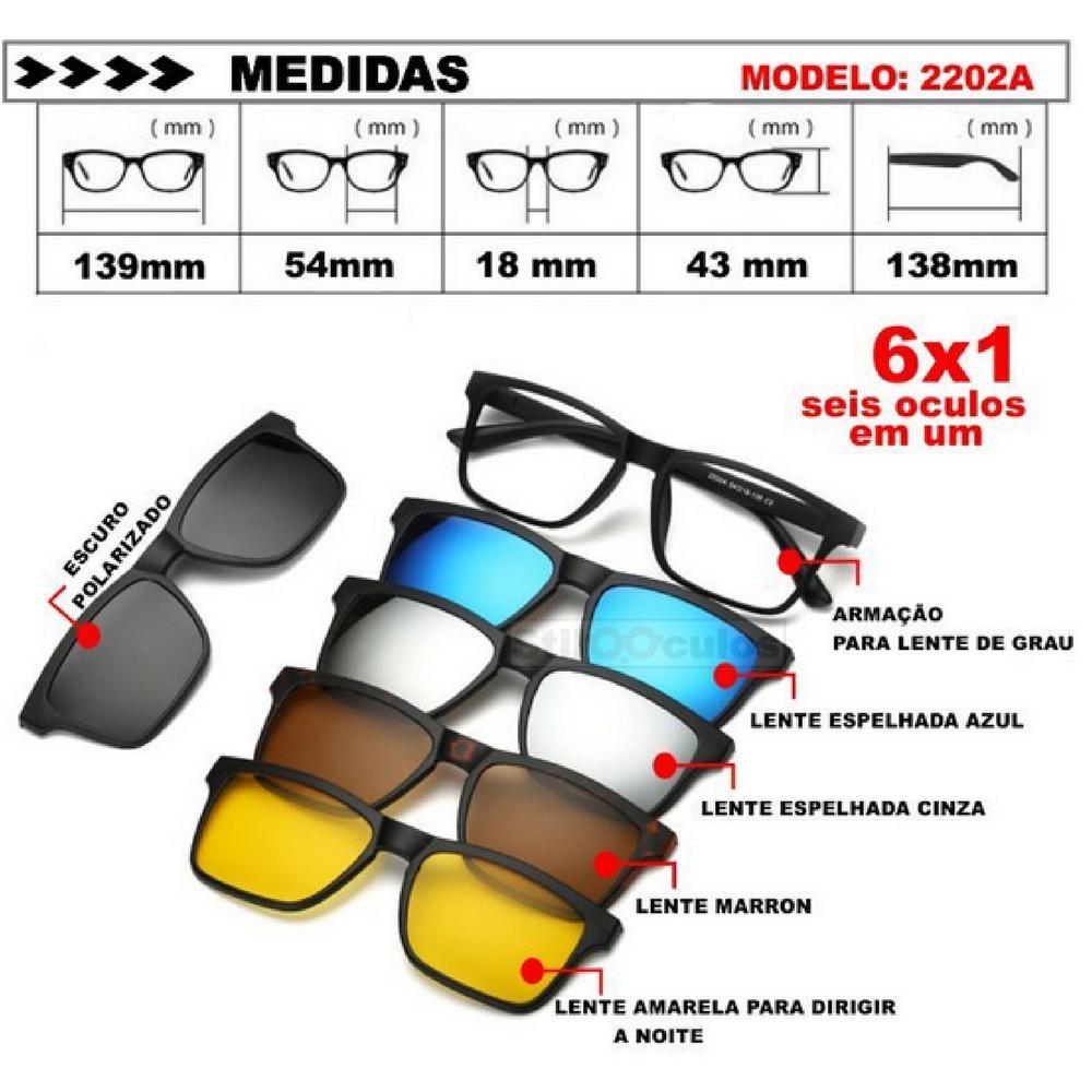 a8b60fcc65527 armação óculos grau sol e noite polarizado 6 em 1 clip on. Carregando zoom.