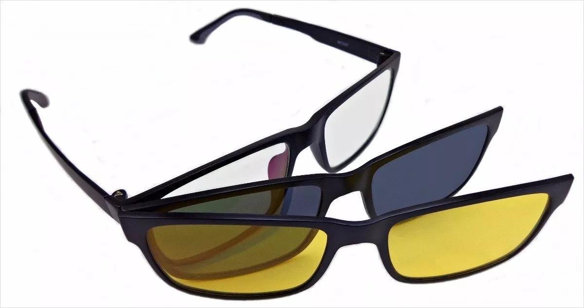 Armação Oculos Grau Sol Masculino Clip On Polarizado - R  139,00 em ... 738a4134d7