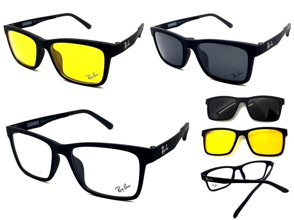 armação oculos grau sol masculino rb2088 2 clip on brinde. Carregando zoom. 1d2c74b519