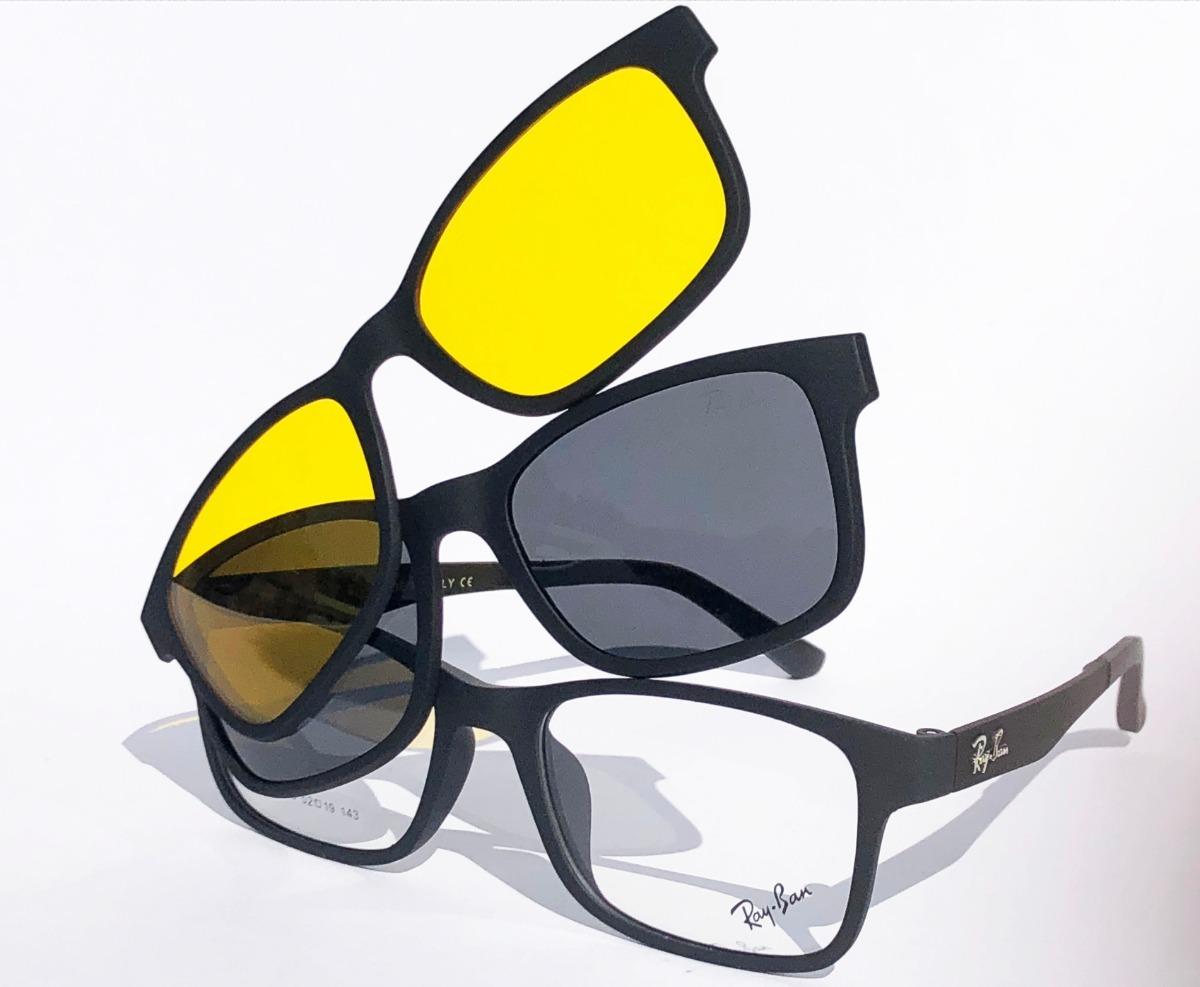 c3b9c03d5 armação oculos grau sol masculino rb2088 2 clip on brinde. Carregando zoom.
