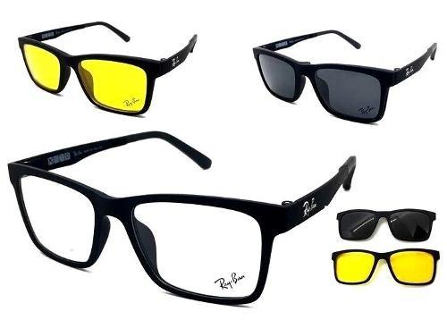 127db57ea7754 Armação Oculos Grau Sol Masculino Rb2088 2 Clip On Original - R  149 ...