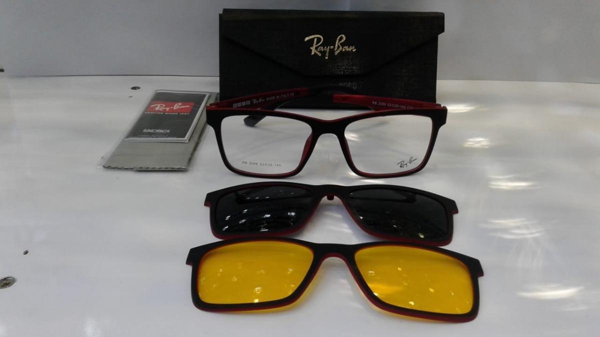 b252918e6ef2b armação oculos grau sol masculino rb2088 2 clip on promoção. Carregando  zoom.