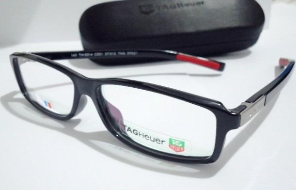 9c035f0f25b09 Armação Óculos Grau Tag Heuer Acetato Preto Th0514 Exclusivo - R  99 ...