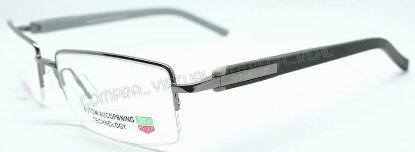 armação óculos grau tag heuer th1213 preto cinza fio nylon. Carregando zoom. 8efa330685
