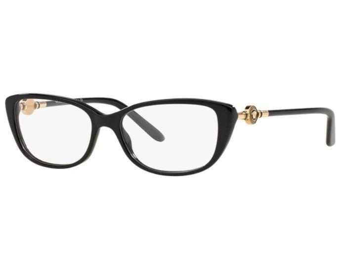 8a651b32d Armação Oculos Grau Versace Ve3206 Gb1 54 Preto Dourado Bril - R ...