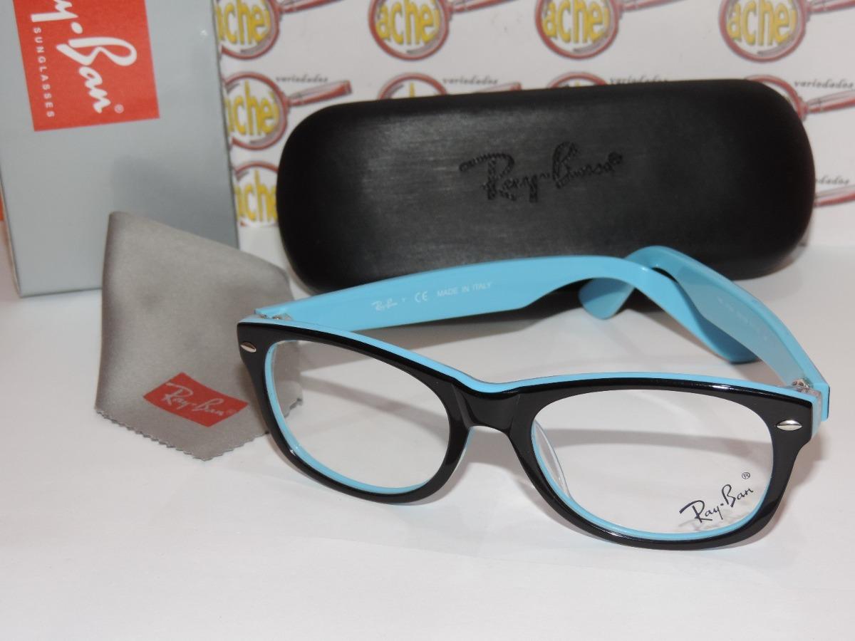 a27e47ac05763 armação oculos grau wayfarer azul caixa case flanela rayban. Carregando  zoom.
