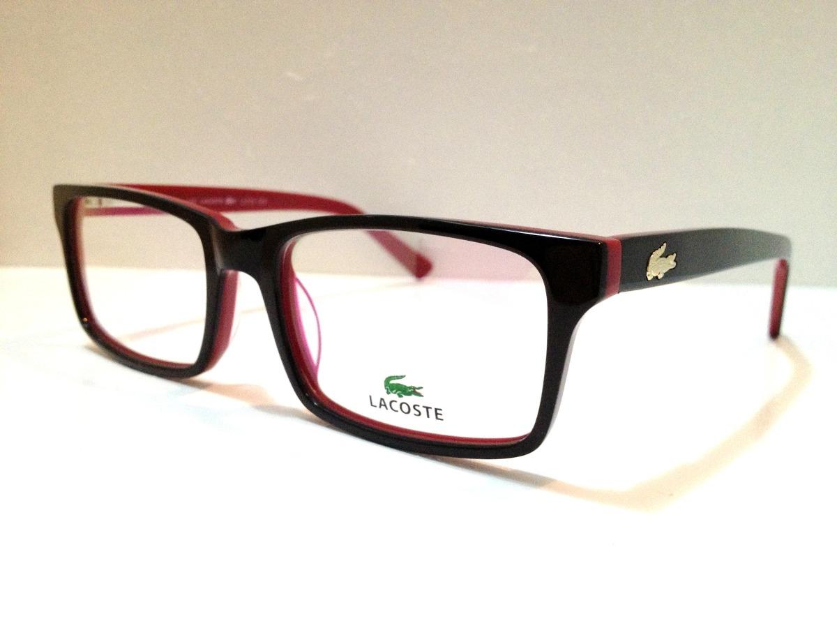 eb44669a94b18 Armação De Óculos Lacoste Acetato Preto C  Vermelho - R  169
