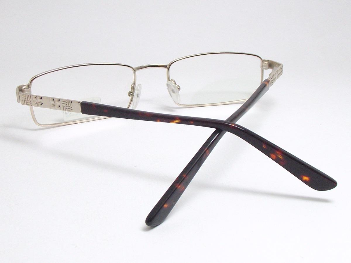 armação óculos masculino retangular dourado marrom 11387 mj. Carregando  zoom. 884c4cbe67