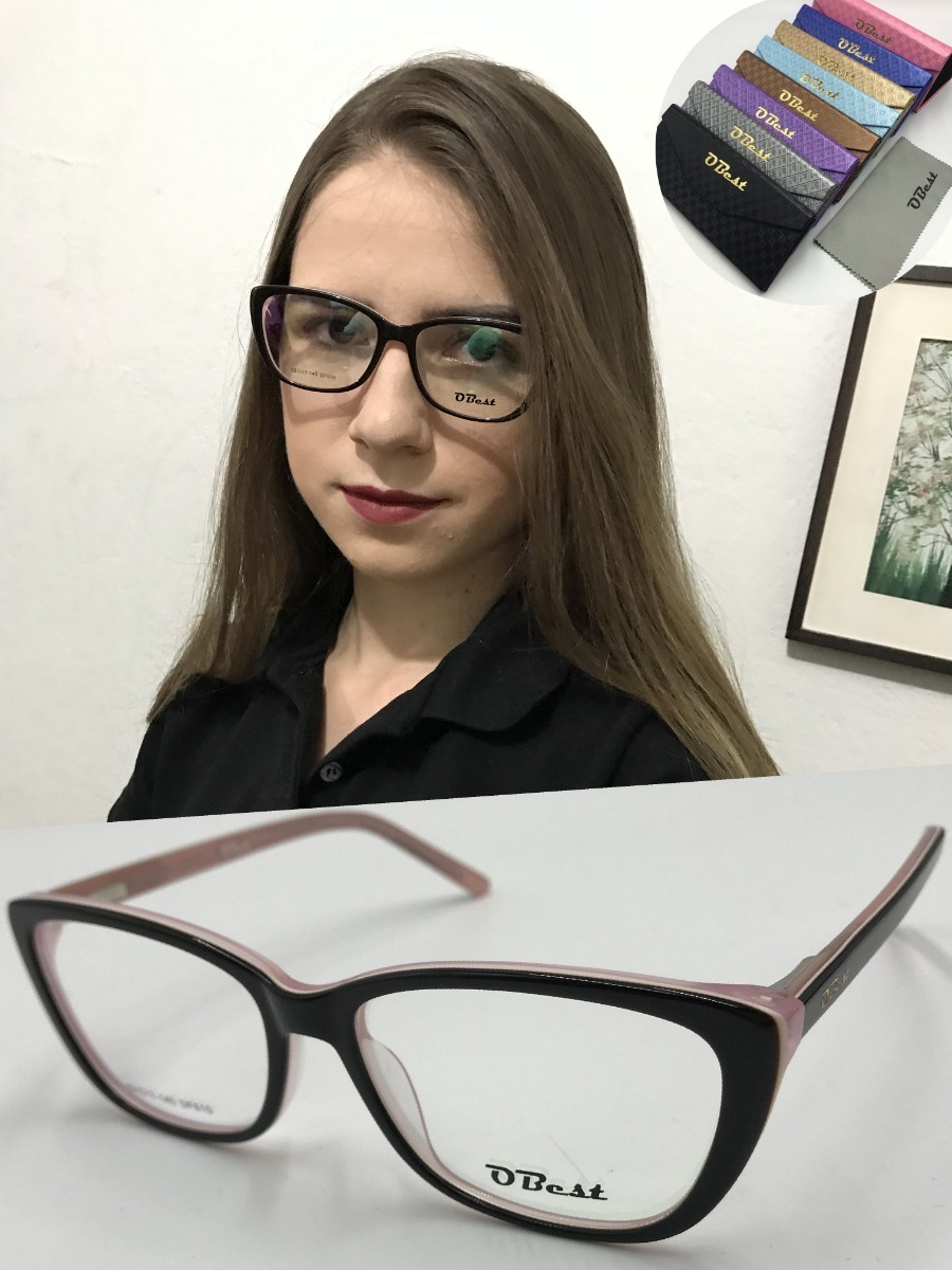 armação óculos obest 610 feminino gatinho quadrado acetato. Carregando zoom. 58bd8aad99