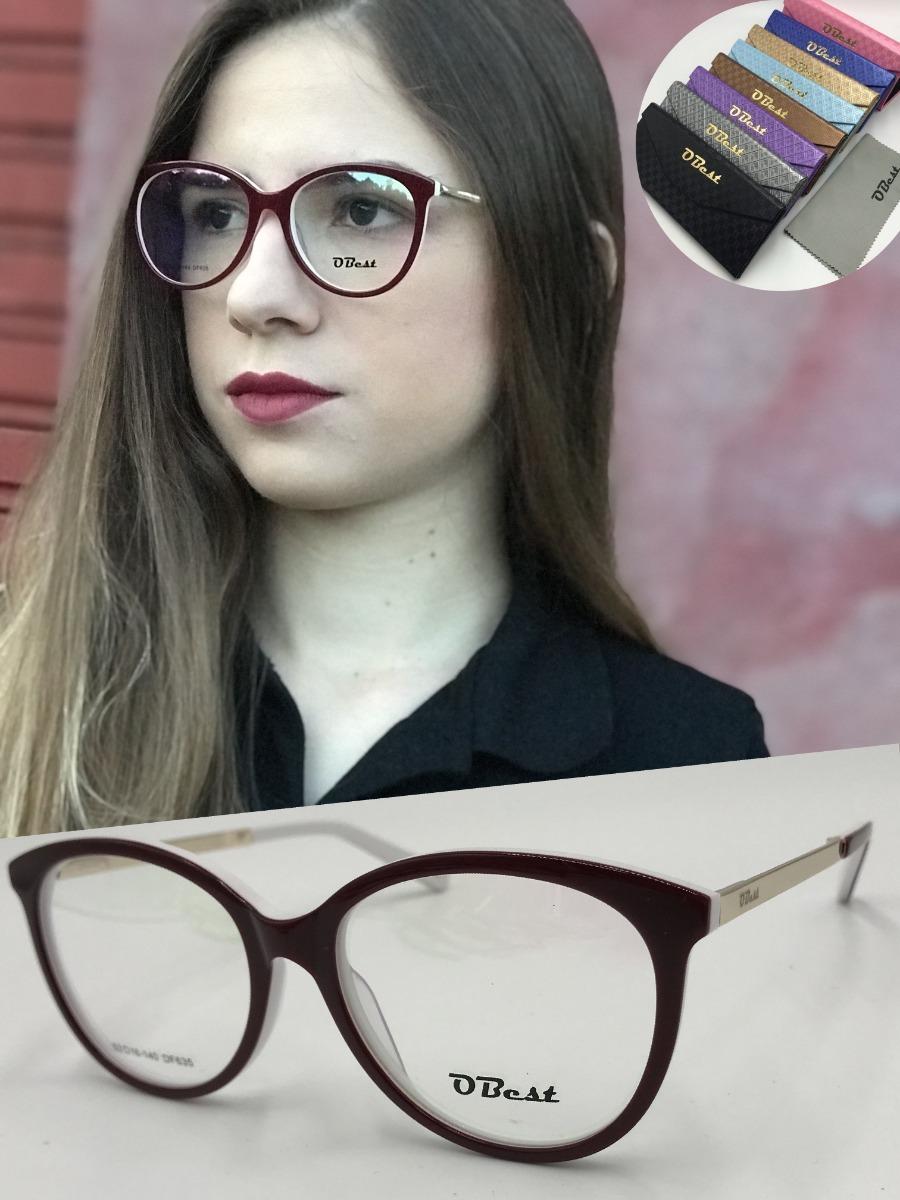 armação óculos obest 635 feminino gatinho redondo acetato. Carregando zoom. ba8aead522