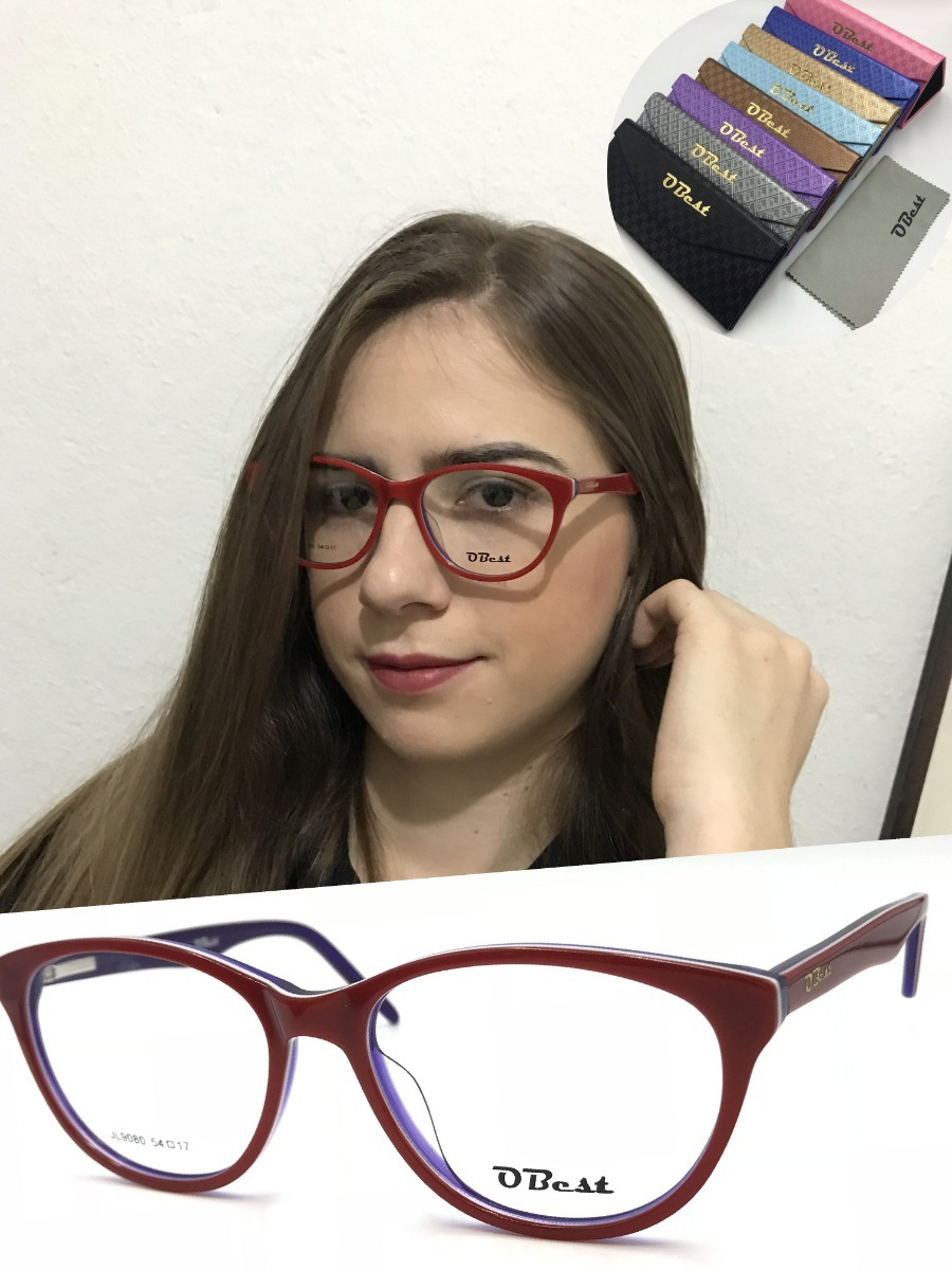 armação óculos obest 9080 feminino gatinho acetato original. Carregando  zoom. 8d924197d7