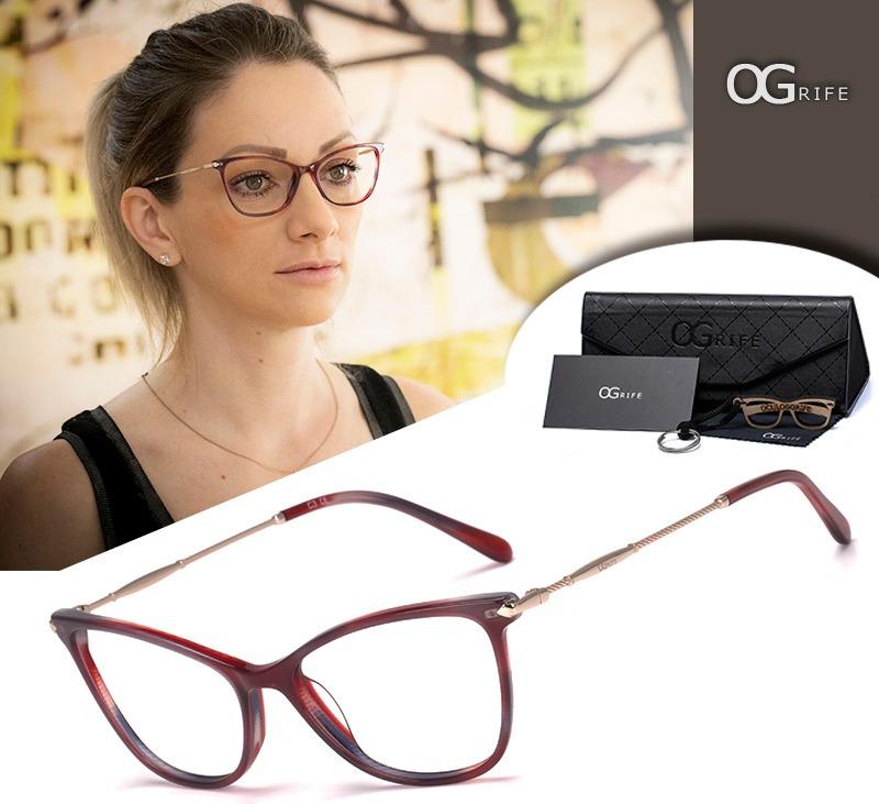 a930b5a5b5e52 armação oculos ogrife og 1035-c feminino com lente sem grau. Carregando  zoom.