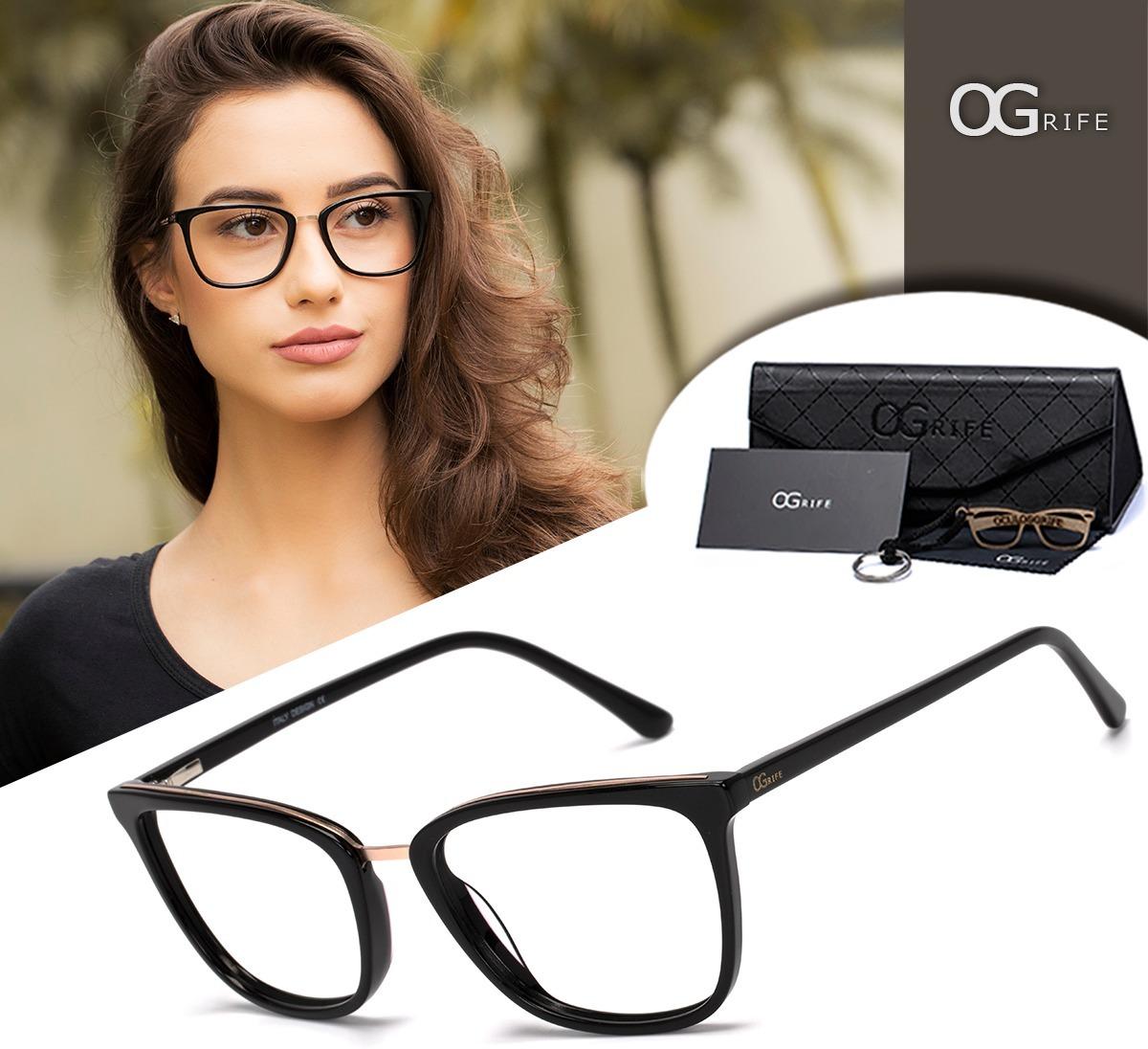 armação oculos ogrife og 1243-c feminino com lente sem grau. Carregando  zoom. c3e67dc6c4