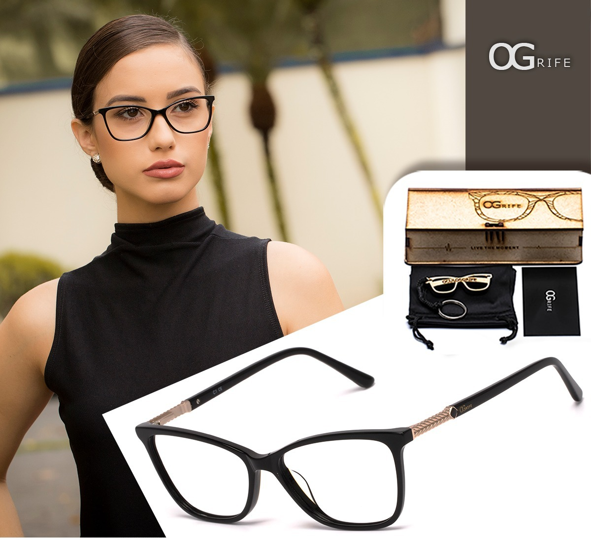 380e94042caa8 armação oculos ogrife og 1497-m feminino com lente sem grau. Carregando zoom .
