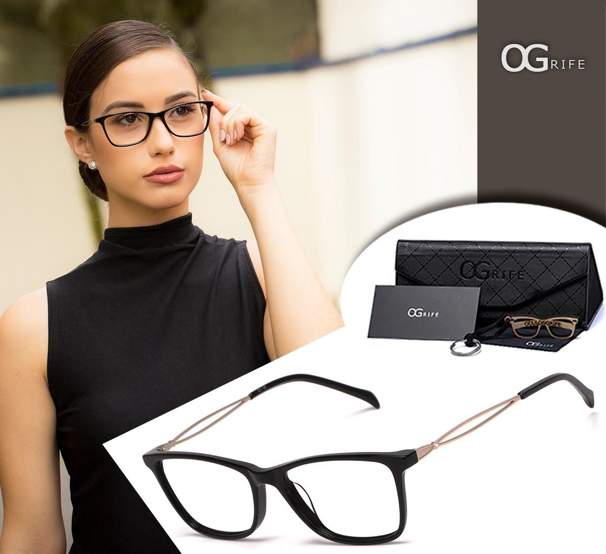 ac7140dea602e armação oculos ogrife og 1501-c feminino com lente sem grau. Carregando zoom .