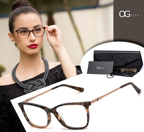 armação oculos ogrife og 1668-c feminino com lente sem grau