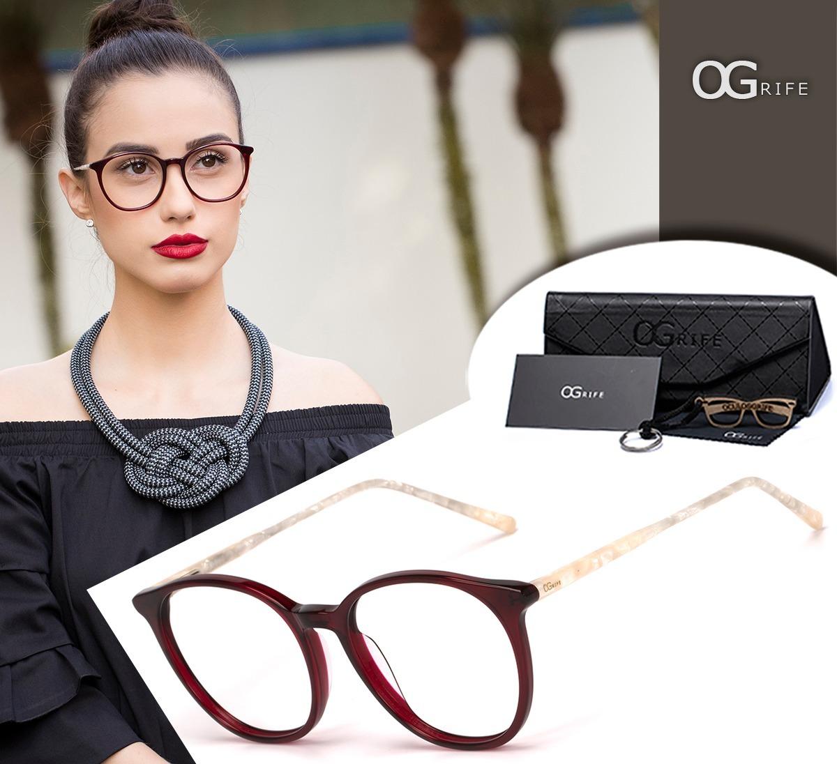 959c8e26d Armação Oculos Ogrife Og 1699-c Acetato Feminino Redondo - R$ 90,00 ...