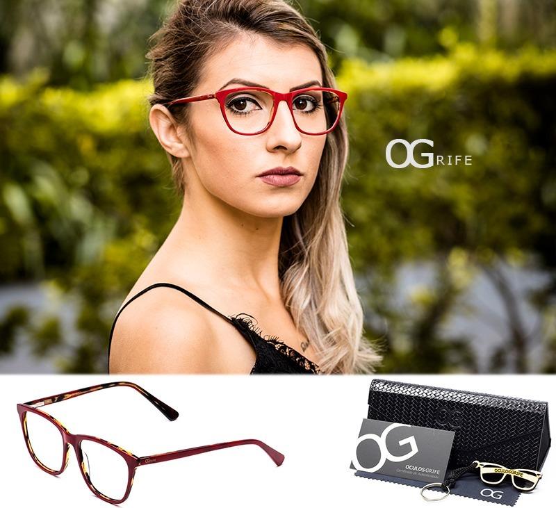 armação oculos ogrife og 537-c feminino com lente sem grau. Carregando zoom. 17e84ce06b