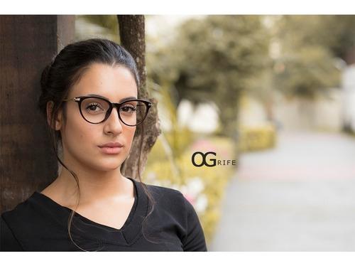 armação oculos ogrife og 660-s feminino com lente sem grau