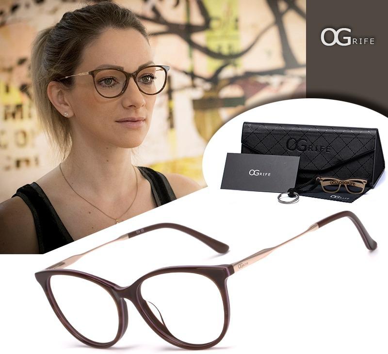 3746cebc7 armação oculos ogrife og 990-c feminino com lente sem grau. Carregando zoom.