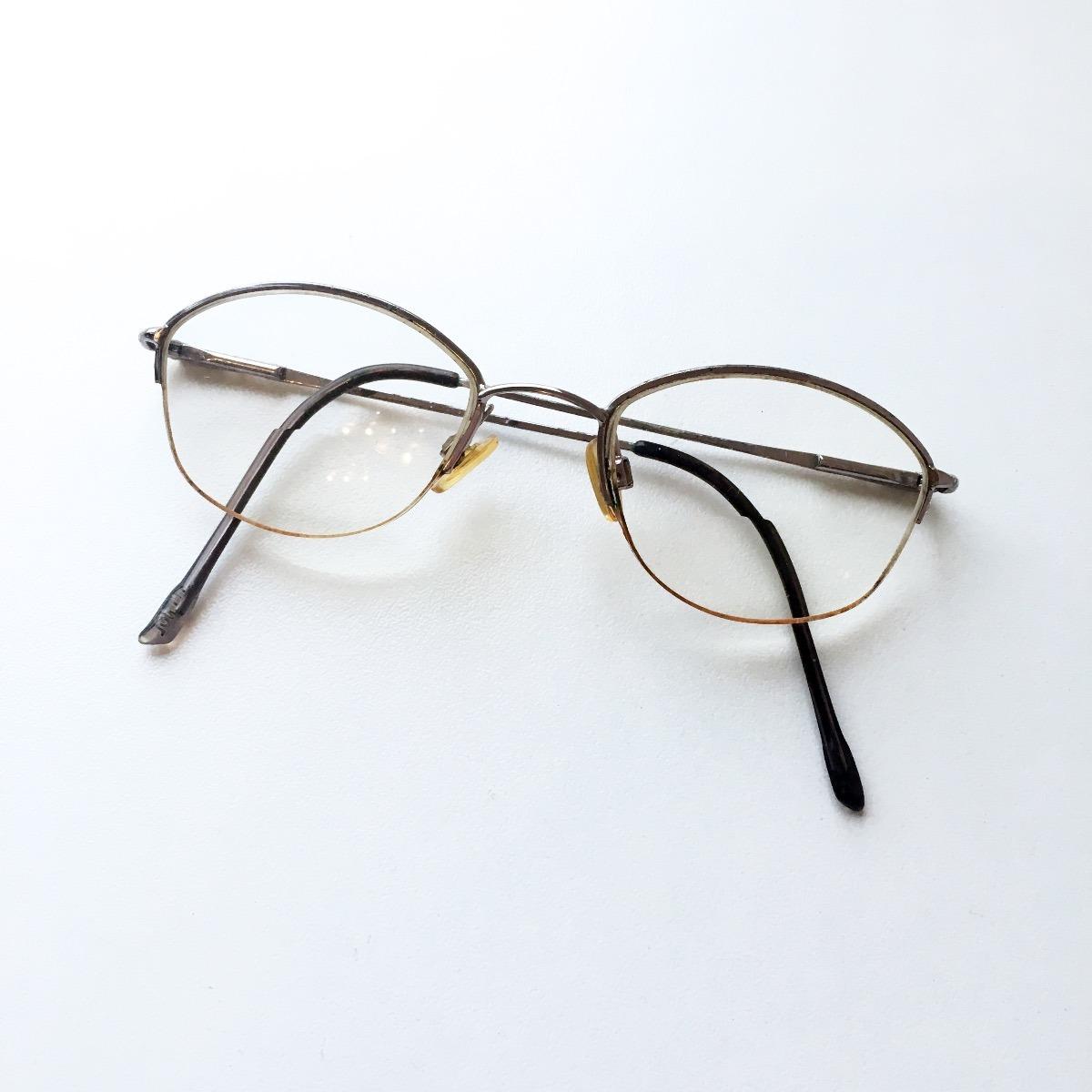 8d0fccead8f8d armação óculos oval meio aro metal retrô. Carregando zoom.