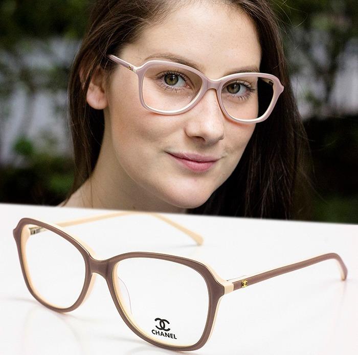 0f3b5ef443910 Armação Oculos P  Grau Feminino Ch56 Acetato Importado - R  80