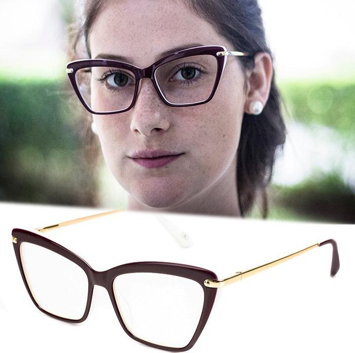 Armação Oculos P  Grau Feminino Mf50 Acetato Metal Importado - R  80 ... 6122afcda1
