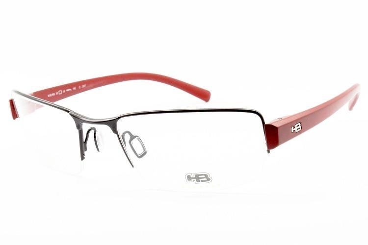 d56cee730 Armação Óculos Para Grau Hb Masculino 93406 Preto Vermelho - R$ 149 ...