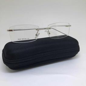 45286cc0d4a Armação Óculos Parafusado Masculino P/grau Prata Flutuante