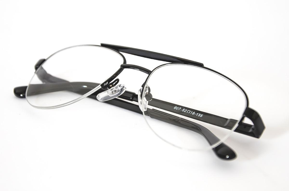65483d1ed armação oculos pequeno aviador preto basico meio nylon 970. Carregando zoom.
