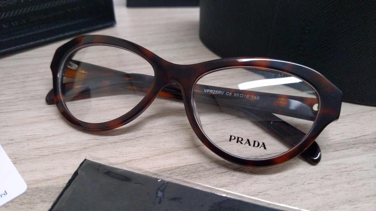 5a9ca2a2f1599 Armação Para Óculos De Grau Acetato Prada Vpr25 Tartaruga - R  300 ...