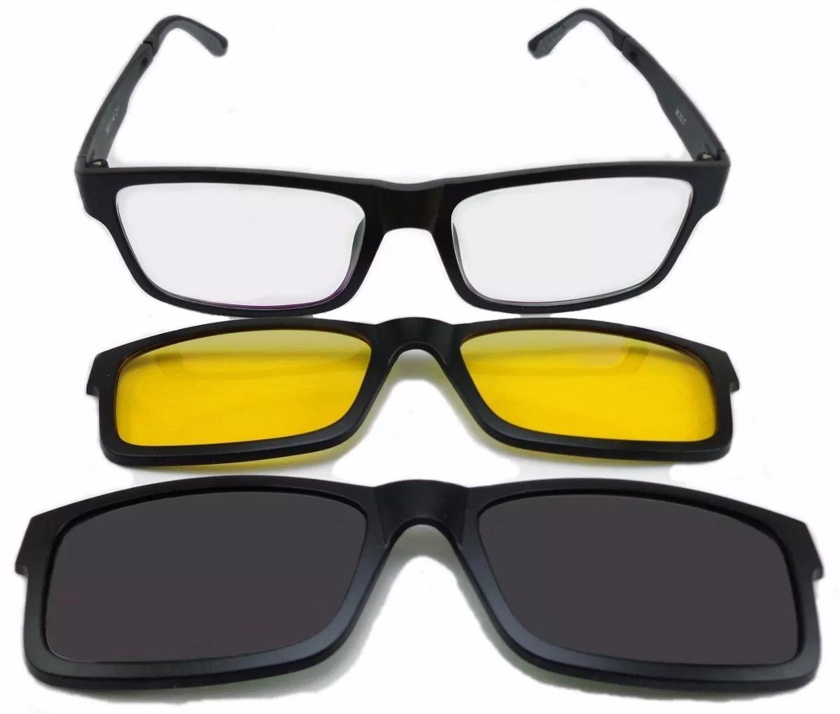 7953ec10ed992 Armação Óculos R + 2 Clipons Masculino E Feminino - R  109,00 em ...