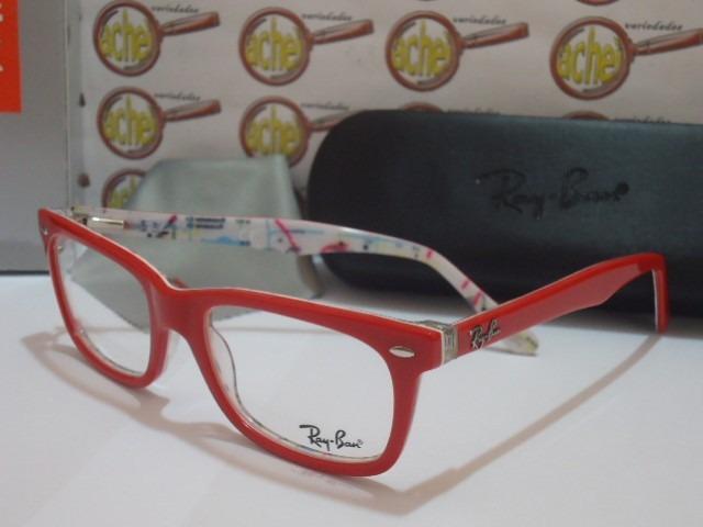 8753315cb Armação Oculos Grau Rb5228 Vermelho E Branco Subway Ray-ban - R$ 97,